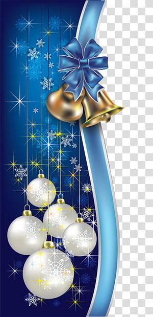 enfeites de Natal brancos e azuis, Papai Noel feriado árvore de Natal ano novo, bordas decorativas de Natal azul png