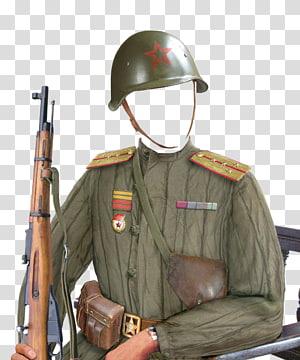 roupa de soldado, capacete e rifle de caça marrom, uniforme militar da Segunda Guerra Mundial da União Soviética Rússia, soldado png