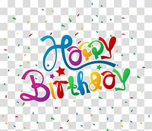 Cartão de felicitações de aniversário, feliz aniversário com confetes, feliz aniversário png