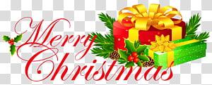 vermelho e verde Feliz Natal, Natal, Feliz Natal com presentes png