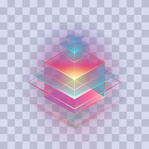 ilustração de holograma de construção, padrão de simetria, lâmpada de néon de estágio criativo PNG clipart