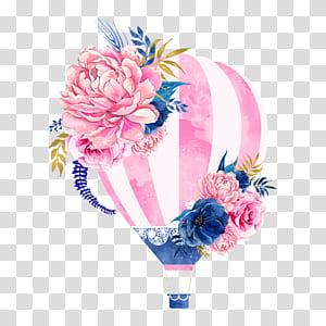 Balão de ar quente Flor, balão de ar quente flores, balão de ar quente floral rosa e azul png