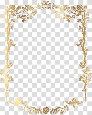 frame, borda floral francesa retangular dourada, arte finala digital do frame floral dourado PNG clipart