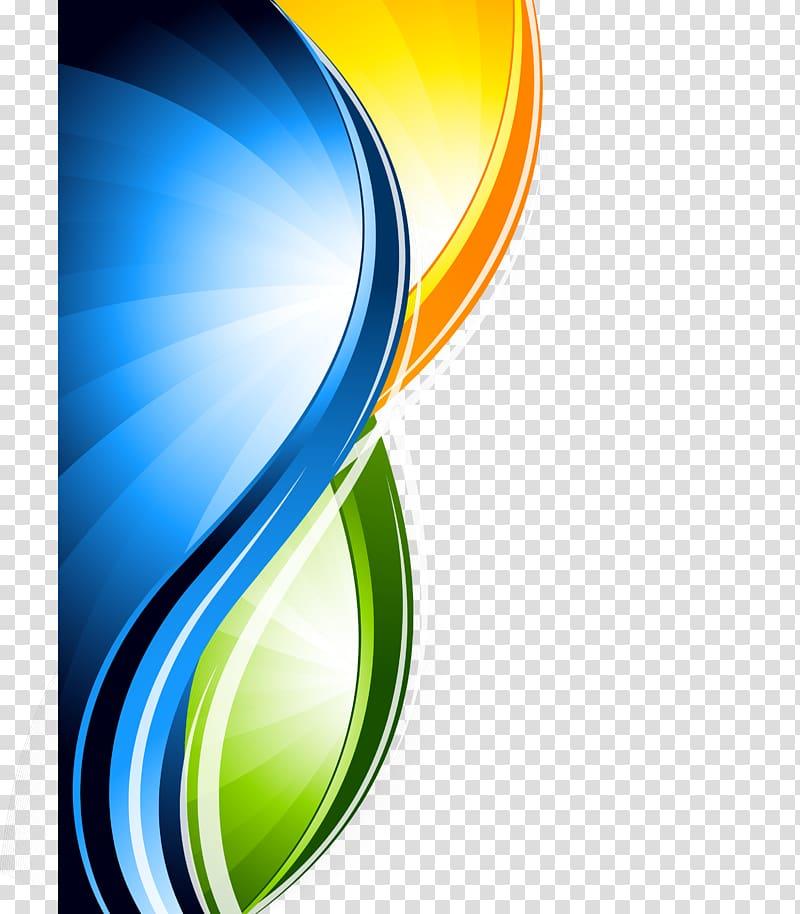 Design gráfico, linhas abstratas, material de fundo, logotipo amarelo, verde e azul png