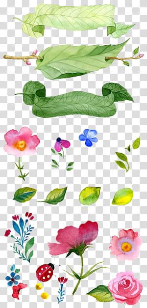 Pintura em Aquarela Ilustração de flores, flores pintadas à mão, folhas e flores ilustração PNG clipart