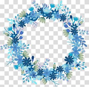 ilustração de grinalda de flores, grinalda de papel flor azul presente, grinalda Floral PNG clipart