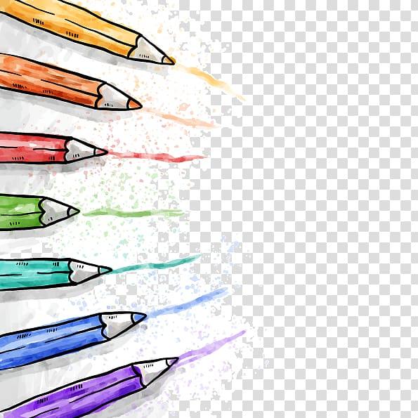 pintura de lápis de cor, lápis de cor Desenho Pintura em aquarela, lápis de cor desenhados à mão PNG clipart