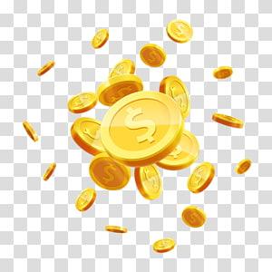ilustração de moeda, moeda de ouro, voando material de moeda de ouro espalhadas png