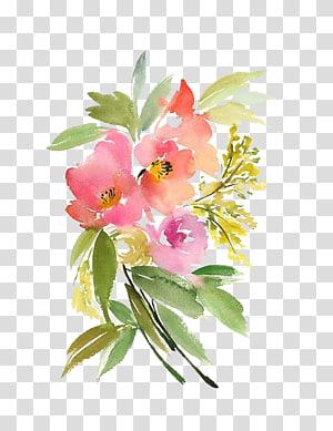 ilustração de flores cor de rosa e laranja, aquarela: flores de papel aquarela flores pintura, flores em aquarela PNG clipart