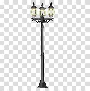 Lâmpada de rua LED, bela luz de rua, poste de luz preto de ferro forjado 3 PNG clipart