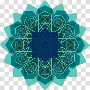 Arte islâmica do ano novo islâmico do Alcorão, linhas verdes, cerceta e arte floral azul PNG clipart