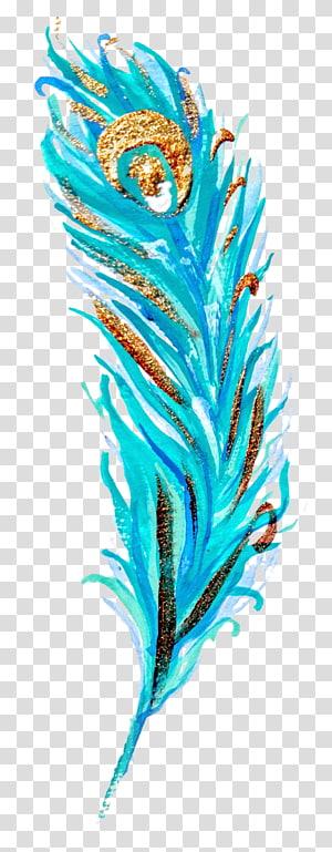 Cartaz de Peafowl da lona da pena da pintura, estilo fresco da aguarela da pena png