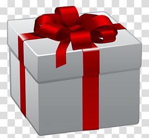 ilustração de caixa de presente cinza e vermelho, presente de Natal, caixa de presente branca com laço vermelho PNG clipart