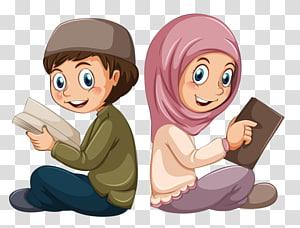 Islã muçulmano Alcorão menino, estudantes muçulmanos, ilustração de menino e menina PNG clipart