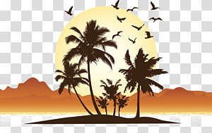 ilustração da árvore, pôr do sol à beira-mar PNG clipart