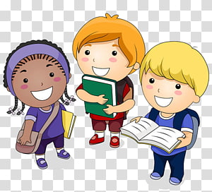 três criança com ilustração de sacos, Cartoon de estudante, um estudante com um livro PNG clipart