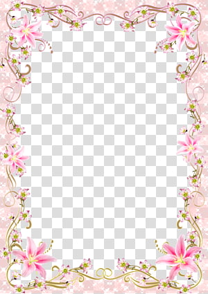 frame template, Floral Border Frame linha rosa romântico, quadro de flores cor de rosa png