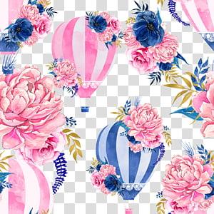 ilustrações de flores e balões de ar quente, balão de ar quente Pintura em aquarela, balão de ar quente da flor png