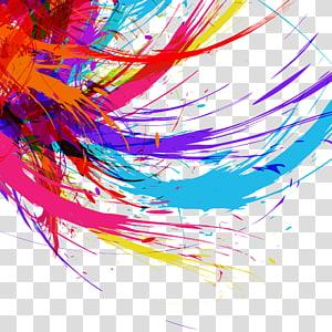 pintura abstrata multicolorida, design gráfico logotipo, fundo colorido PNG clipart