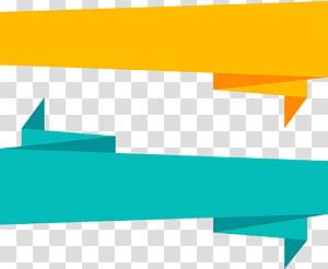 ilustração de bandeiras amarelas e azuis, fita de papel origami, fita de origami PNG clipart