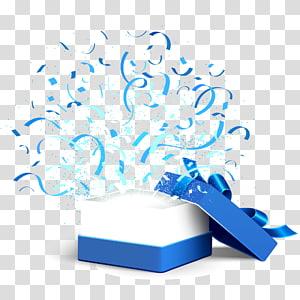 ilustração de caixa de presente branca e azul, arquivo de computador de presente de caixa, abra a caixa de presente azul png