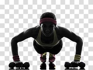 flexões de mulher durante o uso de halteres, exercício físico push-up musculação fitness físico fitness center, movimento fitness png