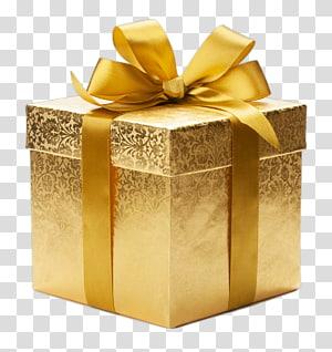 caixa de presente de ouro, papel de embrulho de presente, presente png