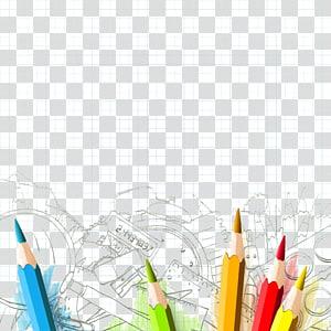 Escola do aluno, lápis de cor, várias cores da cor do lápis PNG clipart