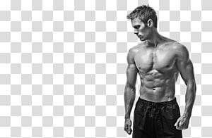escala de cinza do homem virado para o lado, modelo de fitness físico músculo masculino fitness center, fitness show muscular masculino png