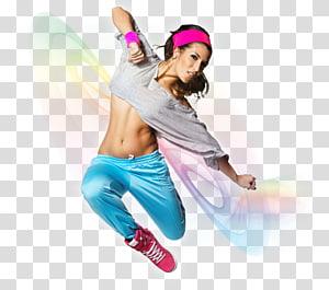 mulher vestindo calças azuis enquanto dança, aeróbica aeróbica dança, aeróbica png