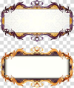dois quadros de borda roxa e dourada, moldura Art Deco, barra de título de caixa retrô de estilo europeu png