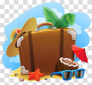 férias de verão de mala de viagem, verão decorativo, bolsa marrom, óculos de sol azuis e ilustração de chapéu de sol amarelo PNG clipart