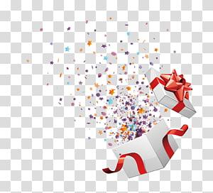 caixa de presente com confete, presente de Natal aniversário, caixa aberta cortesia png