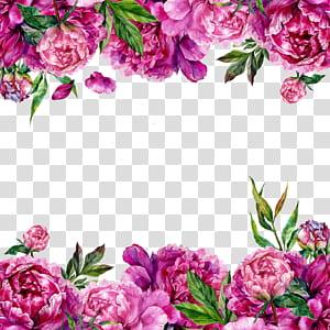 Convite de casamento Cartão de flores Peônia, borda de flores, borda de peônia rosa png