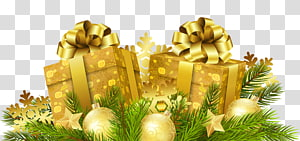 duas caixas de presente de ouro, presente de natal papai noel presente de natal, presentes de natal decoração png