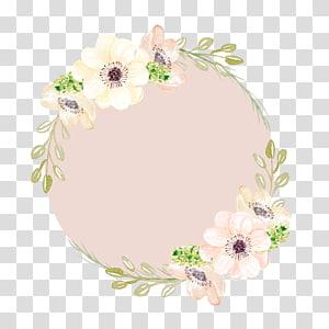 Pintura em aquarela Flores cor de rosa, guirlandas pintadas à mão, moldura floral amarela e rosa png