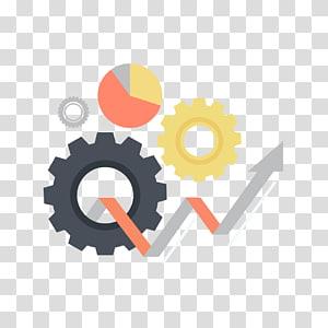 ilustração de engrenagens e gráfico de pizza, ícone de implementação, engrenagens e seta PNG clipart