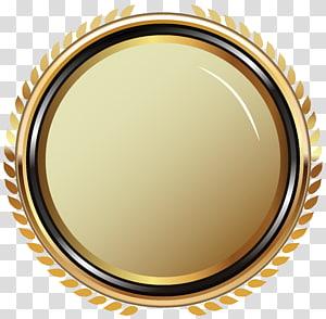 Distintivo, distintivo oval de ouro, log amarelo redondo o PNG clipart