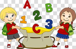 menino e menina com letras e números a voar, estudante em idade escolar, Hall Monitor s PNG clipart