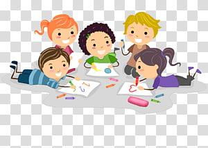 cinco crianças escrevendo ilustrações, desenho infantil, crianças PNG clipart