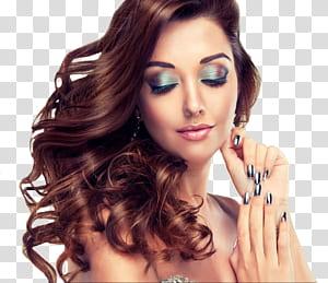 Peruca de cabelo Salão de beleza Maquiador, modelo de maquiagem, mulher tocando sua orelha com os olhos fechados PNG clipart
