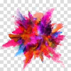 explosão de pó de cor, respingo de tinta de cor, explosão de cores sortidas PNG clipart