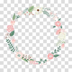 Quadro de flor Grinalda, quadro Floral, ilustração de grinalda floral verde, branca e rosa PNG clipart
