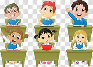 ilustração de seis crianças, aluno em sala de aula lição Cartoon, crianças em idade escolar PNG clipart