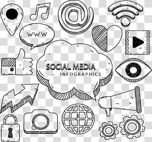 fundo preto com sobreposição de texto de mídia social, marketing de mídia social infográfico ícone euclidiano, mídia social pintada à mão PNG clipart
