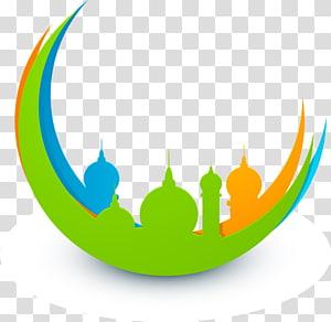 Eid Mubarak Eid al-Fitr Eid al-Adha Islam Salah, Castle Crescent, decoração da mesquita verde PNG clipart