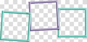 três quadros verdes e roxos, quadros de papel Digital scrapbooking, colagem PNG clipart