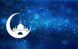 mesquita na ilustração da lua crescente, Alcorão islâmico ano novo Ramadan Muslim, Ramadan PNG clipart