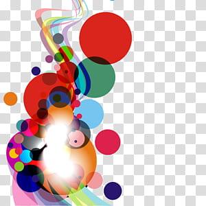 Curva do círculo, colorido redondo e abstrato da curva, ilustração de bolinhas vermelhas e multicoloridas png