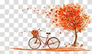 Cor da folha do outono Ilustração da árvore, bicicleta alaranjada do outono sob a ilustração do bordo, da árvore e da bicicleta PNG clipart